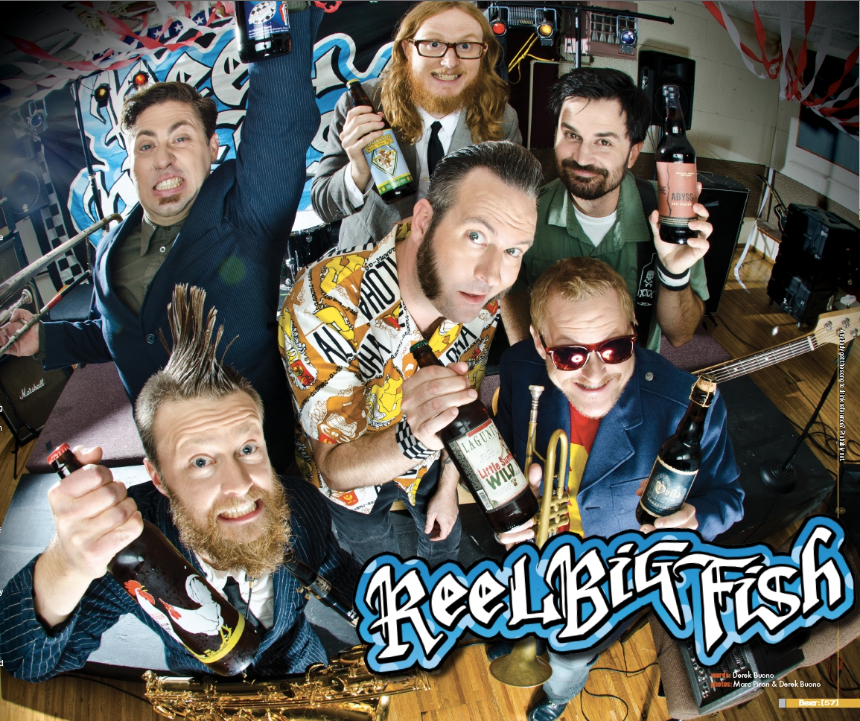 Reel Big Fish poses for the cover of Beer Magazine.