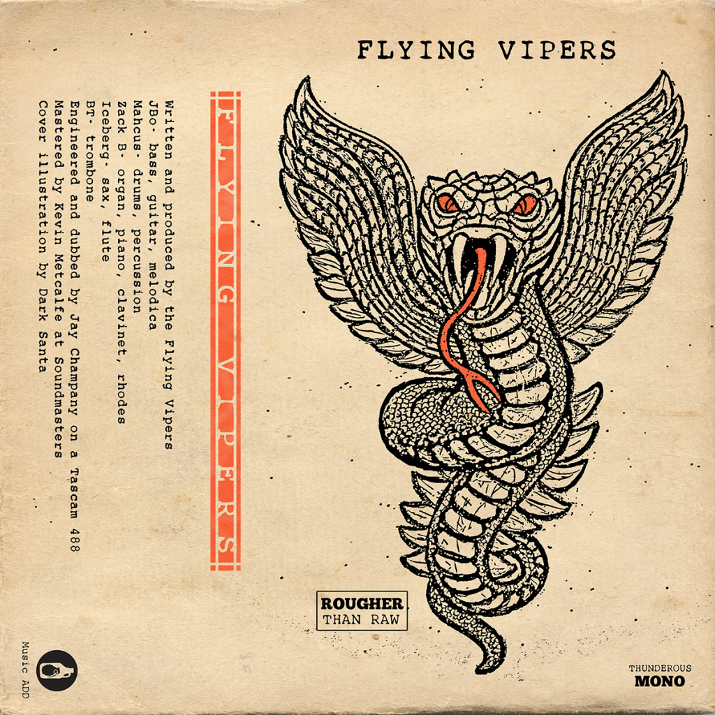 "Cover art for The Flying Vipers' debut release ""The Green Tape"""
