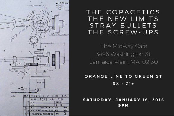 Flyer - 1-16-16 - Midway Cafe - Stray Bullets, The Copacetics, The New Limits, The Screw-Ups