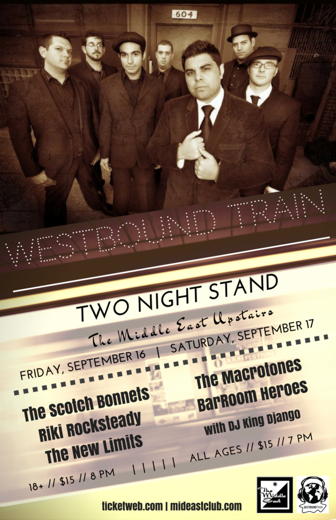 Westbound Train will grace the stage of the Middle East Upstairs two nights in September 2016