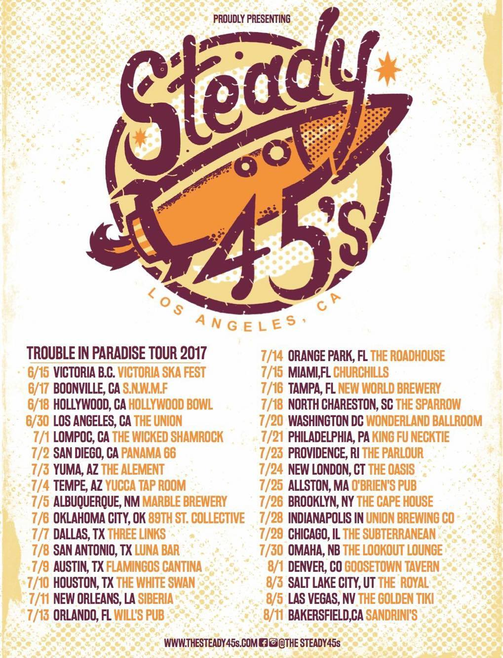 Poster for the Steady 45s 2017 Troublein Paradise Tour with dates
