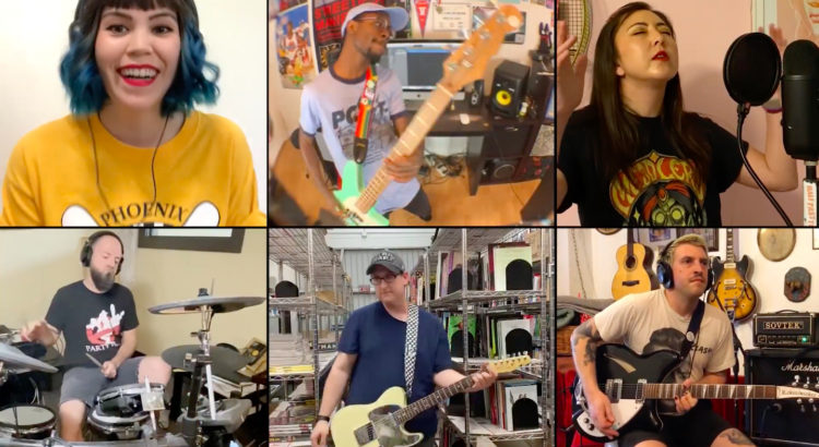 Collage of band members who performed on this dance hall crashers cover